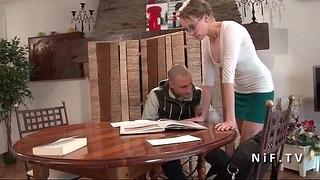 Frenchie Professor Mother Rough Sodomized Par Son Student & Jizzed At Body